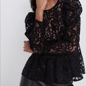 Zara lace blouse with full sleeve NWT med